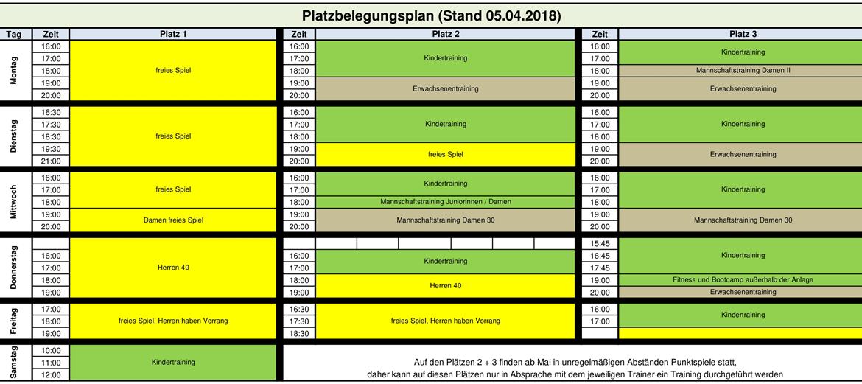 Trainingsplan Frühjahr 2018